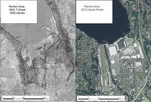 These side-by-side maps show how the southern tip of Lake Washington has changed over a century.